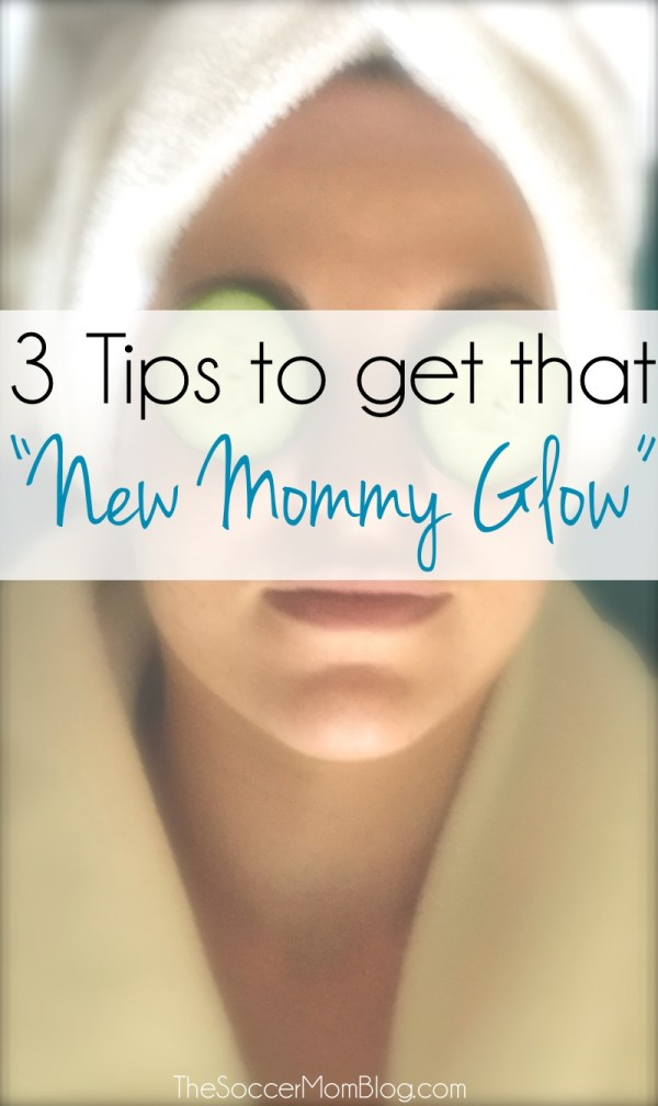 "Postpartum hormones, breastfeeding, and lack of sleep means your skin needs extra TLC! Try these tips to get that ""new mommy glow."" #ApplyBeforeYouDry ad"