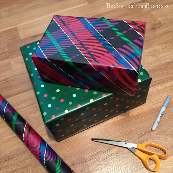 A super easy Christmas gift wrapping technique!! It saves time, money, and is less wasteful than buying a bunch of wrapping supplies that only get thrown away.