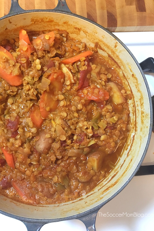 Heart healthy vegetarian Greek Lentil Soup is an easy, one-pot meal that is so flavorful and satisfying you'll never miss meat!