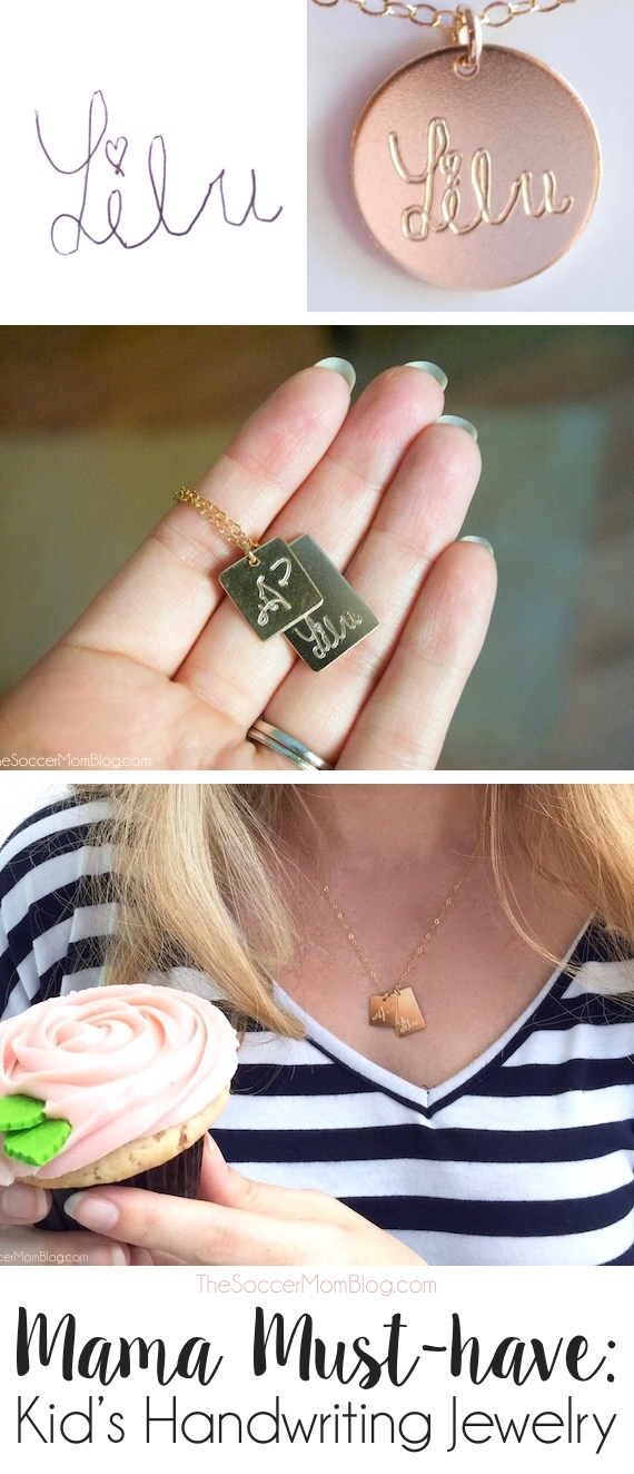Absolutely stunning!! This gorgeous 14K gold handwriting necklace is personalized with your child's own signature -- a must-have for stylish moms! I got one for each of my daughters' grandmothers for Mother's Day