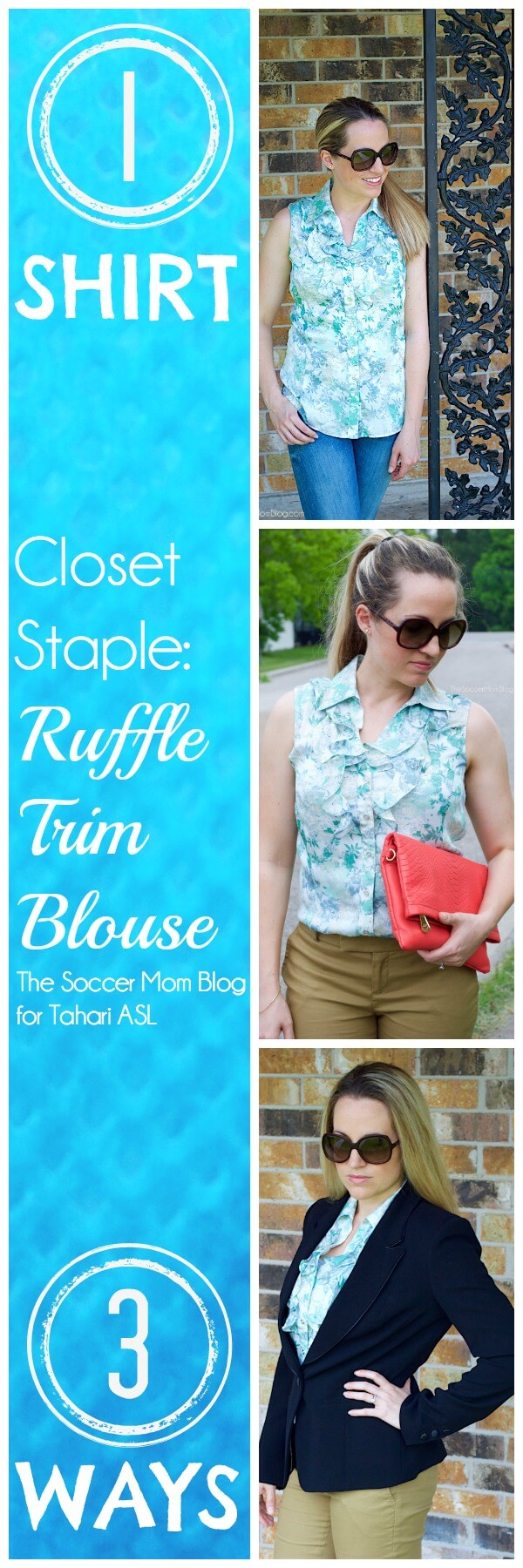 """A """"closet staple"""" doesn't have to be simple! LOVE the details on this ruffled blouse! How to build multiple looks around one go-to piece. Fashion, style"""
