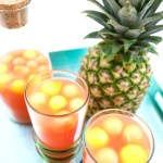 "Tropical Rum Punch with Fruit ""Ice"""