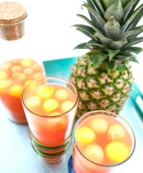"""Tropical Rum Punch with Fruit """"Ice"""""""