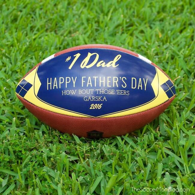 If you're looking for a Father's Day gift for football fans, it doesn't get more perfect than a customized leather football from Wilson Sporting Goods!