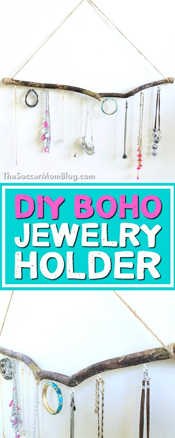 Bring a bit of effortless bohemian style it into your home with this Boho Jewelry Holder. A simple DIY craft incorporating natural materials.