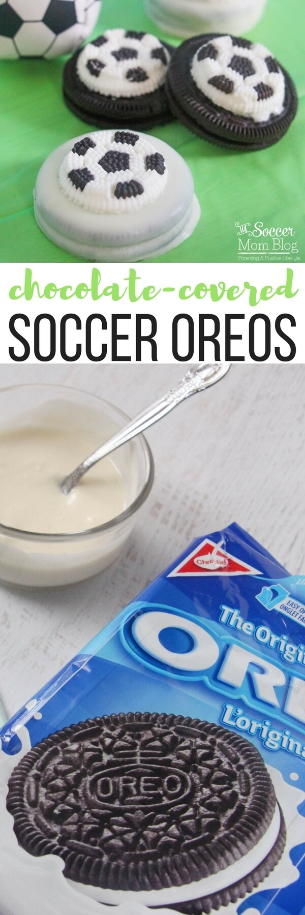 Perfect for a soccer-themed kids birthday party or post practice treat! Chocolate covered soccer Oreos are an easy dessert recipe & guaranteed crowd-pleaser!