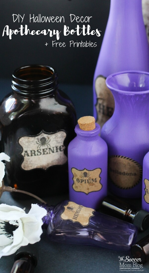 These DIY Halloween Potion Bottles are the perfect spooky touch to your party decor! Easy step-by-step tutorial and free printable labels included!