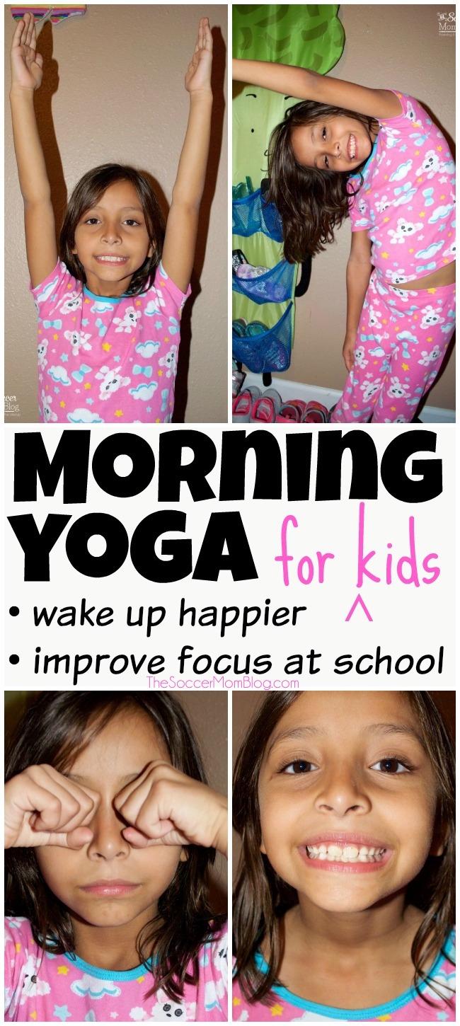 Help your kids wake up happier and feel more alert and focused for school with this 5-minute morning yoga routine. Easy step-by-step exercises for a positive start to the day!