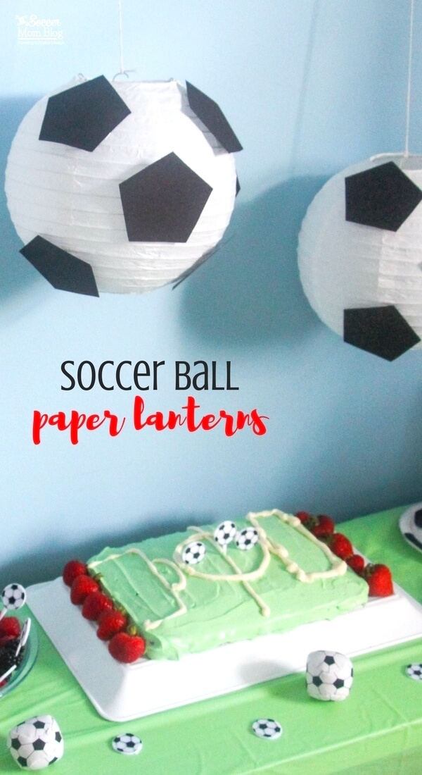 "These ""floating"" soccer paper lanterns are the perfect addition to a sports themed kids birthday party or bedroom decor! Easy & thrifty DIY! (free pattern)"