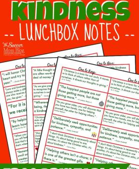 Christmas Kindness Lunchbox Notes