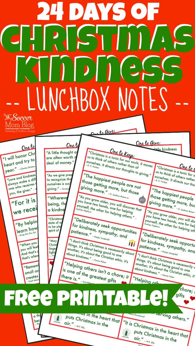 spread cheer with these free printable christmas kindness lunchbox notes 24 holiday kindness quotes