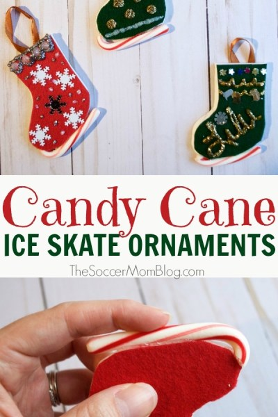 Christmas Candy Cane Ice Skate Ornaments