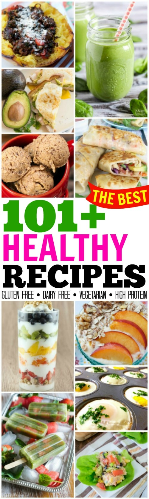 TONS of amazing options in this collection of 101+ Healthy Recipes to feel better and lose weight! Gluten free, dairy free, high protein, vegetarian & more!