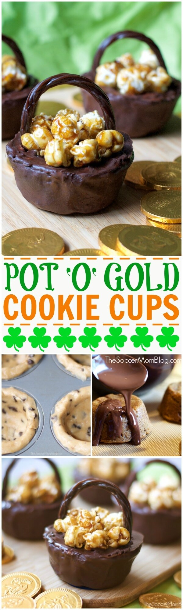 Fun & easy to make (only 4 ingredients!) St. Patrick's Day Cookie Cups look like a pot of gold! (Or chocolate!) A perfect holiday dessert to make with kids!