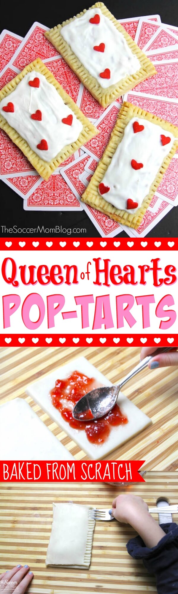 Adorable, baked from scratch Queen of Hearts Pastries (homemade pop tarts!) Perfect for a Valentine's Day party or Alice in Wonderland themed birthday