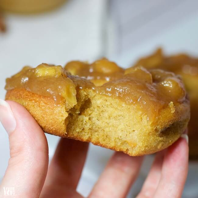 Crave-worthy sweet potato donuts topped w/ a decadent apple pie glaze - a dessert so delicious you'd never guess it's gluten free & full of healthy veggies!