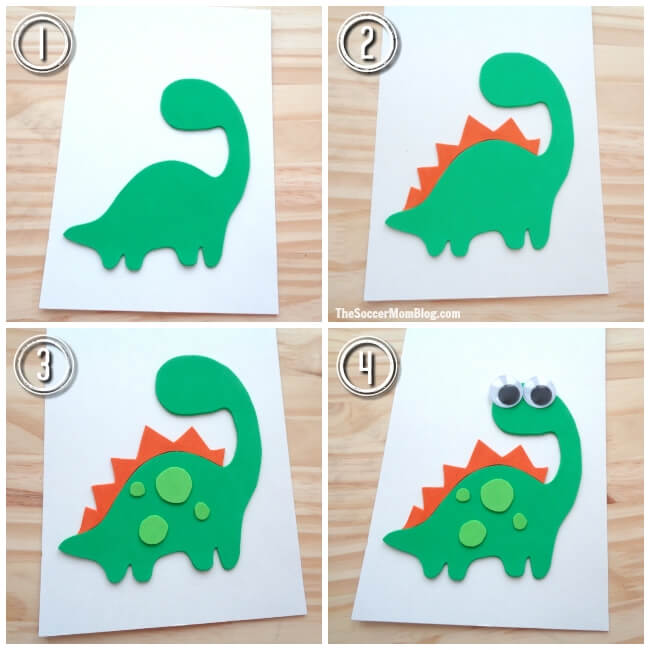 This pun-tastic homemade Father's Day Card sure is DINO-MITE! It's the perfect easy last-minute card idea and can be made by kids of all ages!
