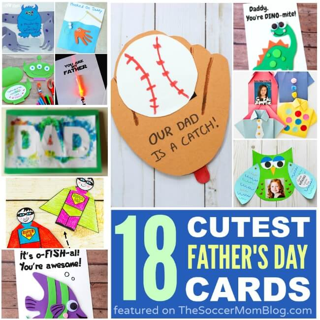 An awesome collection of more than 18 of the cutest kid-made Father's Day Cards idea starters from top family bloggers. Dad will love 'em!!