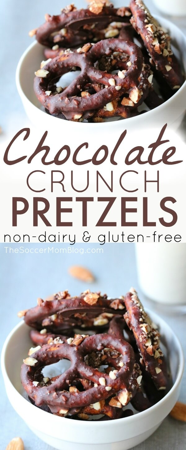 These Dairy & Gluten Free Chocolate Covered Pretzels are the perfect combination of sweet and salty to delight your taste buds — without the unhealthy ingredients in many pre-packaged snacks!