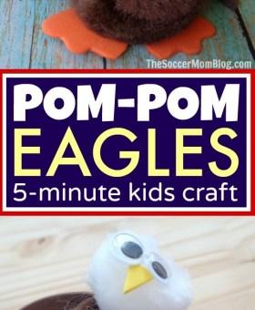 Pom-Pom Bald Eagle Craft for Kids