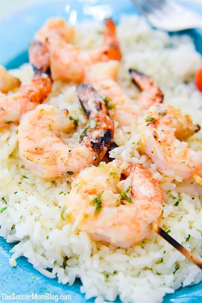 So simple, so elegant, so hearty, and so. darn. good. These grilled garlic butter shrimp skewers are just about the perfect dish!