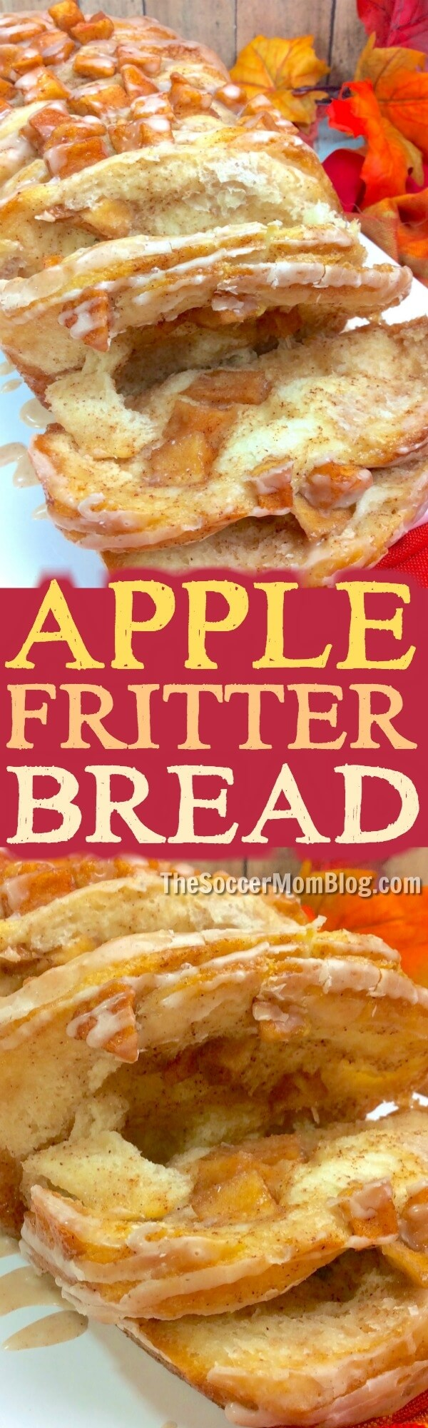 A crave-able and share-able Country Apple Fritter Bread that is just the thing for Fall! Layers of sweet apples sandwiched between buttery biscuit dough.