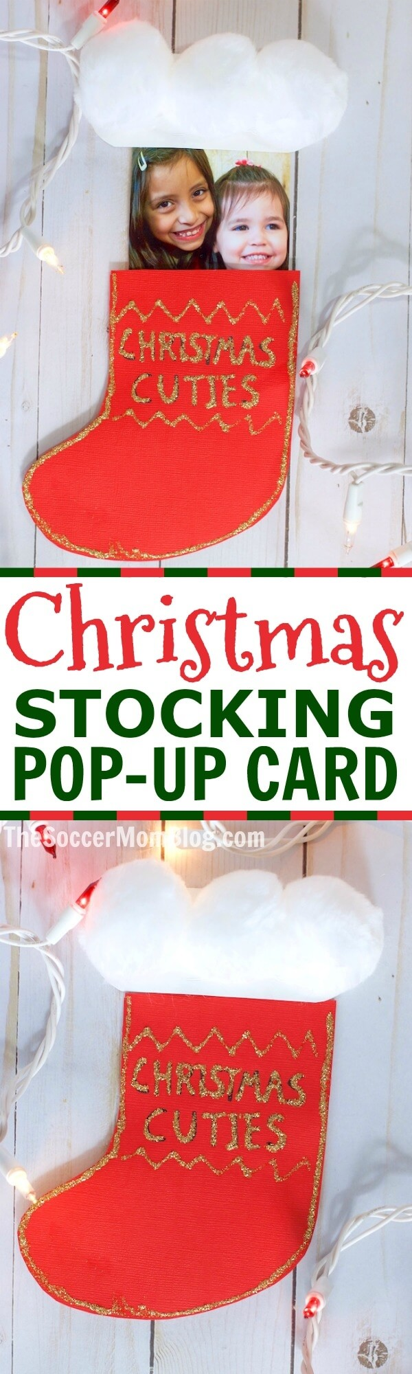 The cutest Christmas surprise!! Kid-made stocking pop-up card