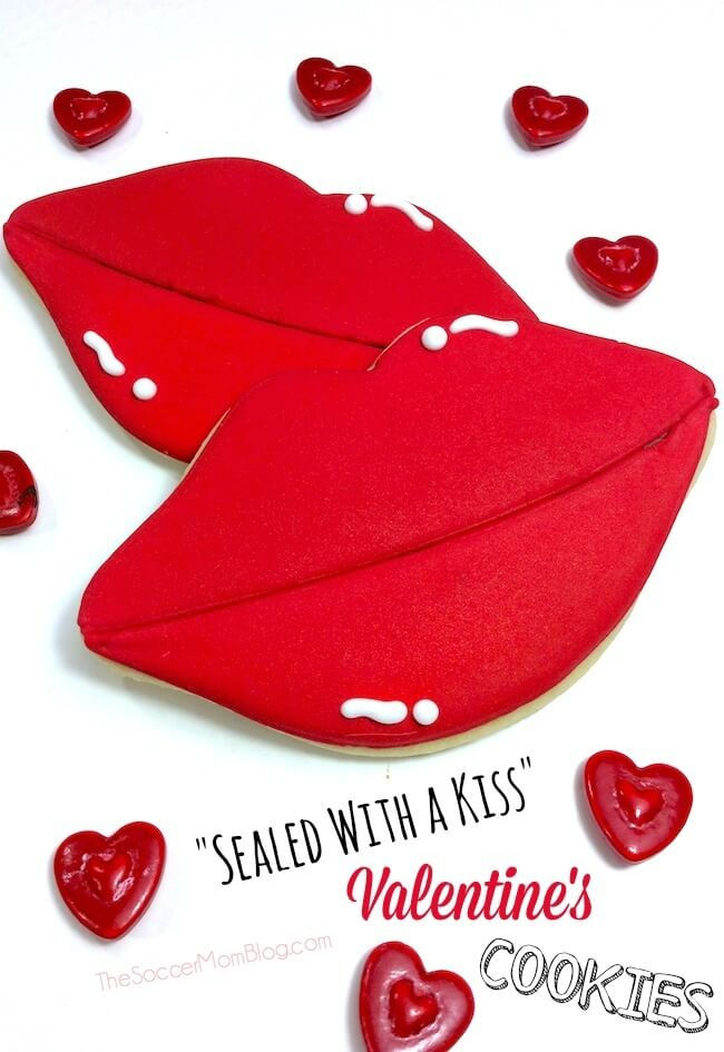 These lip-shaped decorated Valentines cookies are a break from the usual heart-shaped everything! Super cute and perfect to make for your sweetie! #valentinesday #cookies #dessert