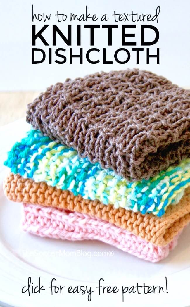 Super Easy Knitted Dishcloth With Free Pattern The Soccer Mom Blog