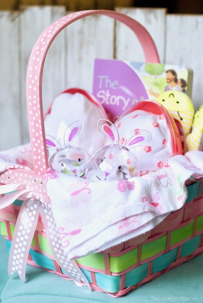 Slime easter basket for kids the soccer mom blog how adorable is this babys first easter basket full of useful goodies for new negle Image collections