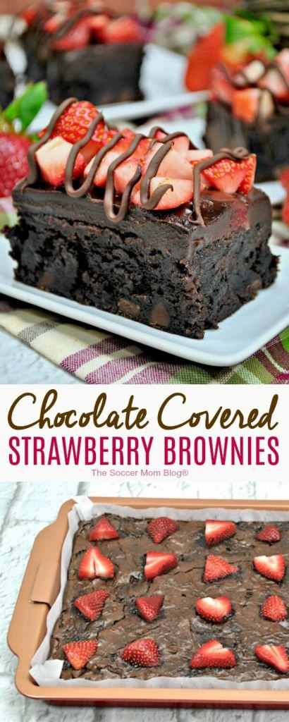 Pure bliss in every bite! These rich chocolate covered strawberry brownies are the ultimate in decadence! Rich, triple fudge brownies topped with fresh berries and finished with creamy chocolate ganache.