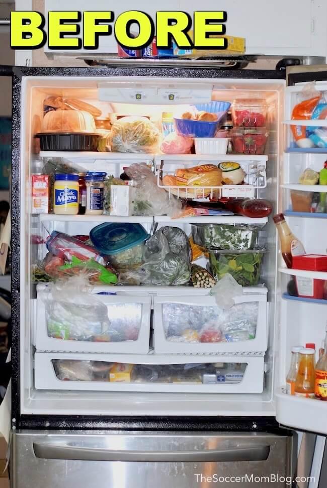 Messy disorganized refrigerator