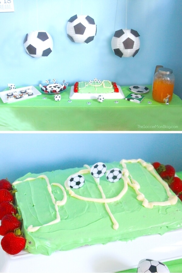 Your little soccer star will LOVE this Soccer Birthday Cake— and you'll love how easy it is to make! Skip the pricey bakery cakes for this tasty homemade cake that looks just like a soccer field!