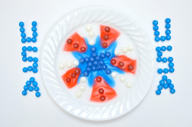 red white and blue Skittles dissolving activity
