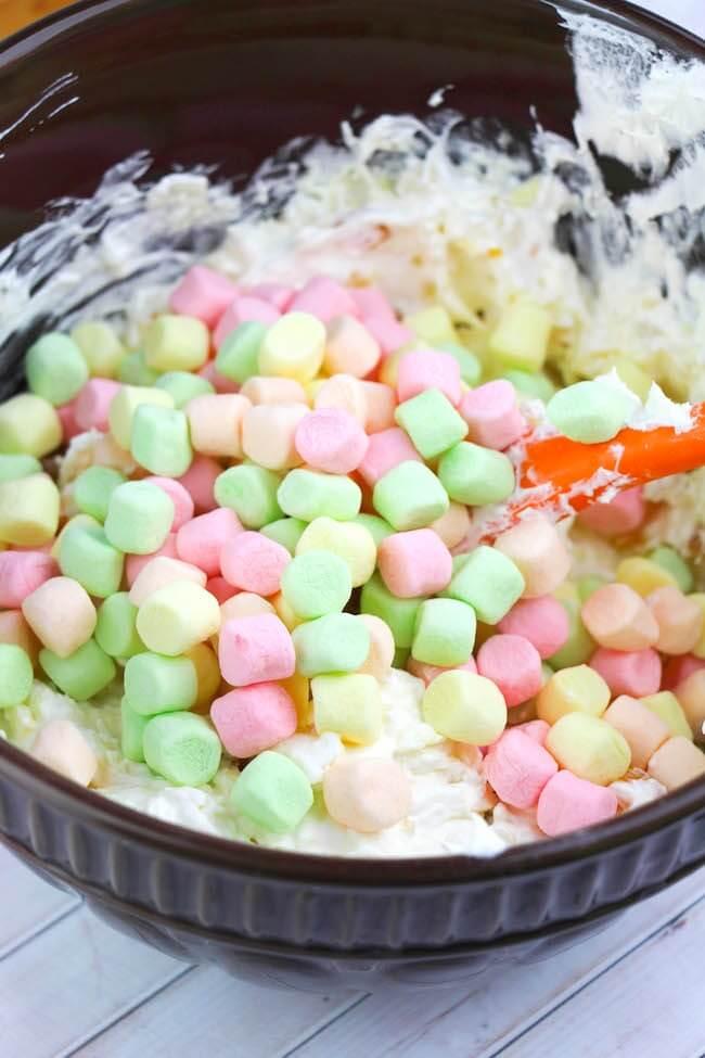 Fruity mini marshmallows in Ambrosia Salad