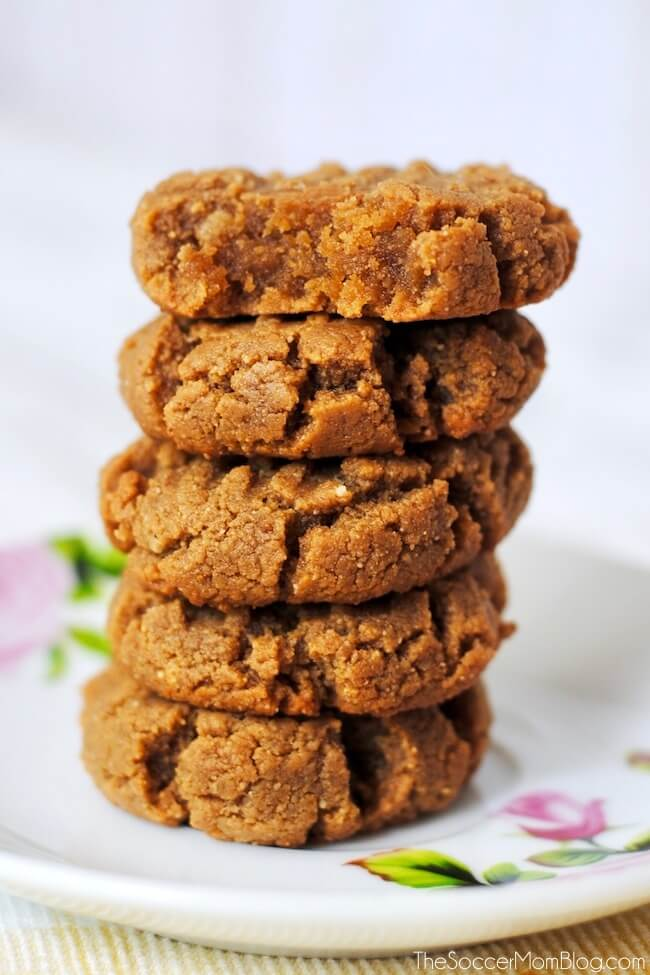 Stack of peanut butter cookies on plate