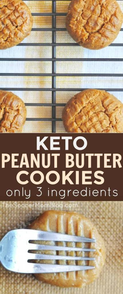 Easy KETO Peanut Butter Cookies are only 3 ingredients!