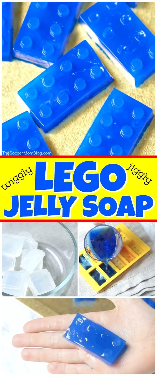 Make bath time a blast with wiggly, jiggly jelly soap that looks just like LEGO bricks! An easy recipe kids can help make using simple household ingredients. Click for video instructions!