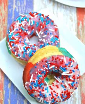 Red White & Blue Swirl Donuts