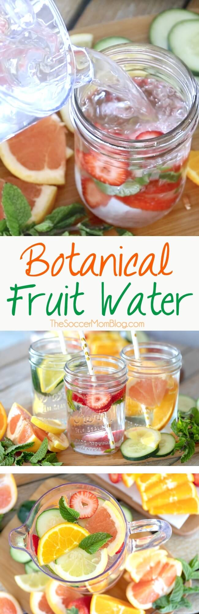 Give your body the healing benefits of botanicals: cleansing, detox, hydration. This simple fruit and herb infused water nourishes and refreshes.