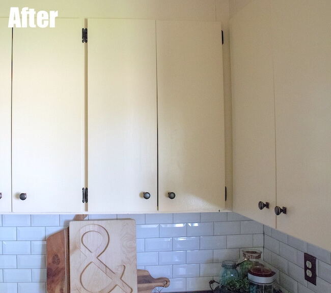 Painted white kitchen cabinets for farmhouse makeover