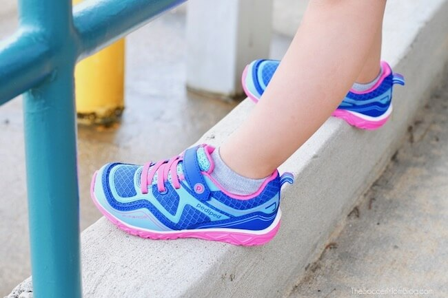 blue and pink Pediped little girls shoes