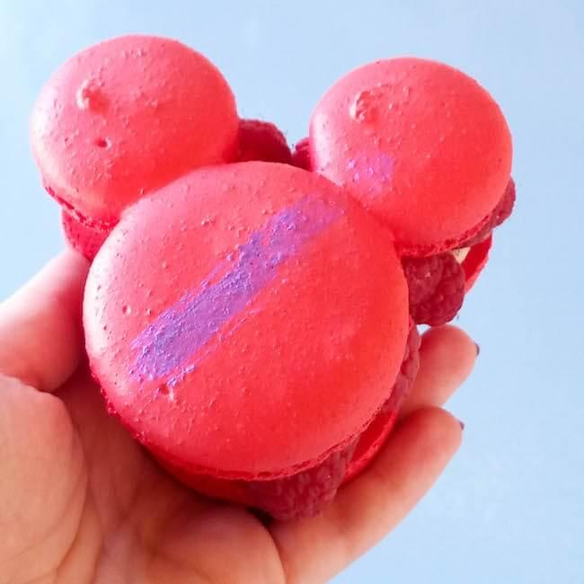 Raspberry Rose Mickey-Shaped Macaron at Disneyland