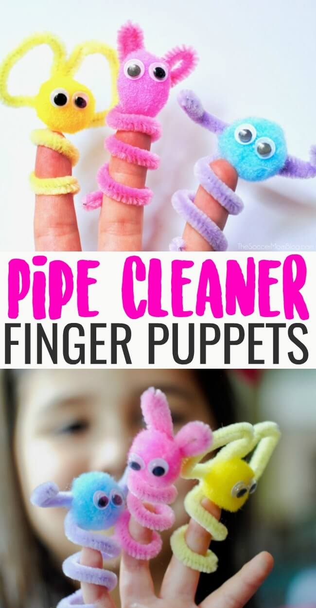 Pipe Cleaner Finger Puppets are an easy, mess-free kids craft and boredom buster perfect for rainy days! #kidscraft #kidsactivity #crafts