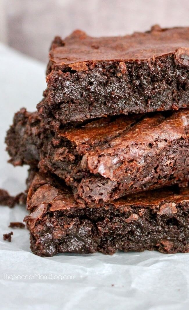 Close up of a stack of chocolate fudge brownies