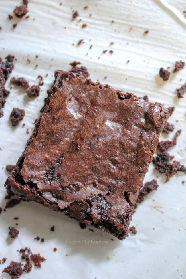 chocolate brownie on parchment paper