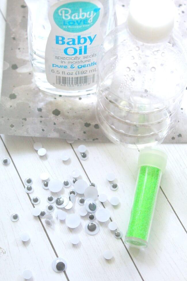 supplies to make a monster eyeball sensory bottle