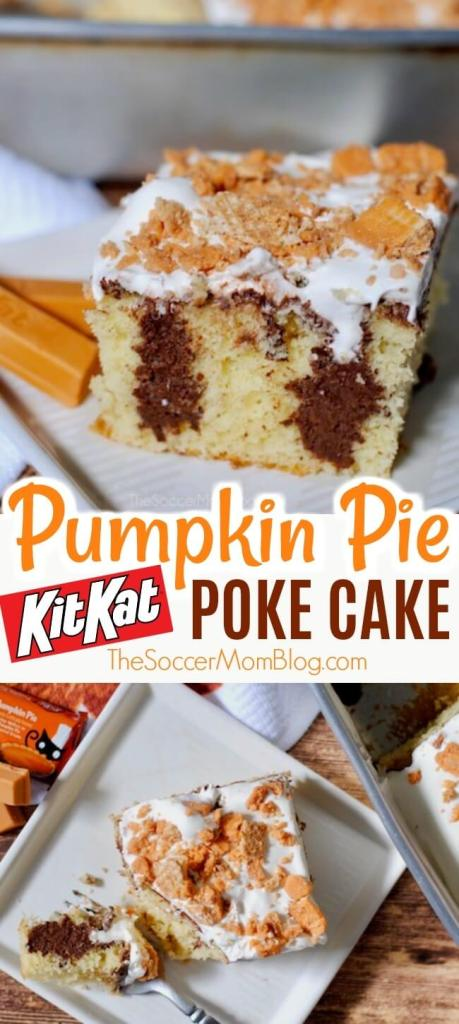 The perfect mix of chocolate, pumpkin, soft, and crunchy! This Pumpkin Pie Kit Kat Poke Cake is mouth-watering and so so deliclious!