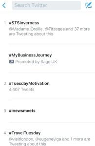 #STSInverness trending on Twitter.