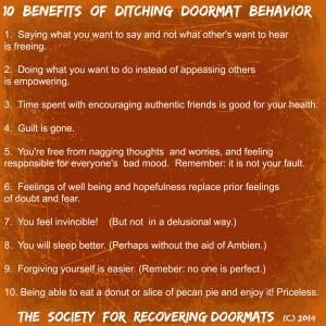 10 Benefits of ditching doormat behavior